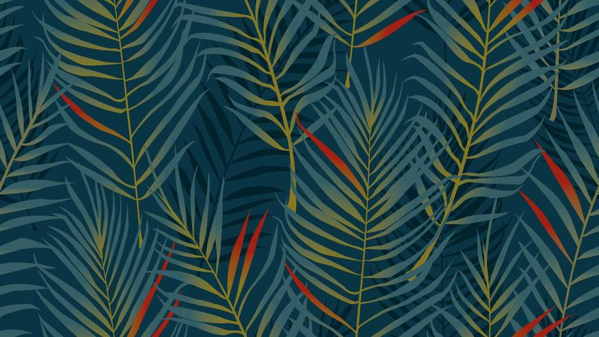 Patrón sin costuras de hojas de coco vector