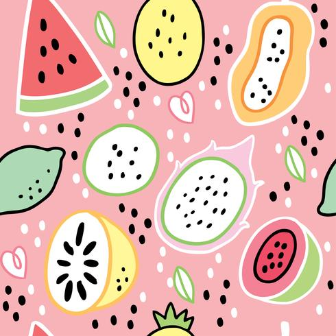 Cartoon cute summer sweet fruits vector. vector