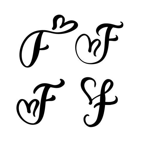 Insieme di vettore del monogramma di lettera floreale dell'annata F. Elemento di calligrafia San Valentino fiorire. Segno di cuore disegnato a mano per la decorazione della pagina e illustrazione di progettazione. Amo la carta di nozze per invito