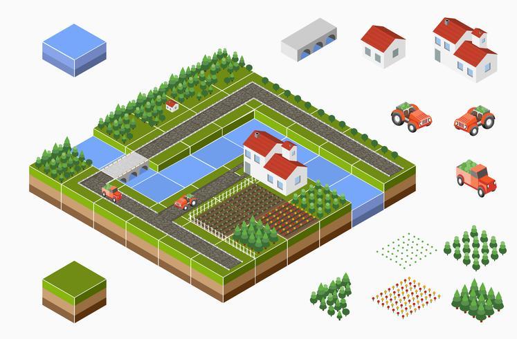 Isometrisch landschap vector