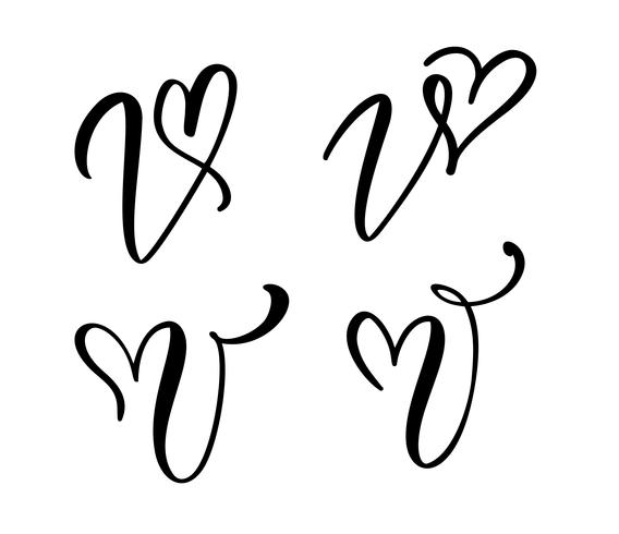 Vector Set of Vintage floral letter monogram V. Calligraphy element Valentine flourish. Hand drawn heart sign for page decoration and design illustration. Love wedding card for invitation