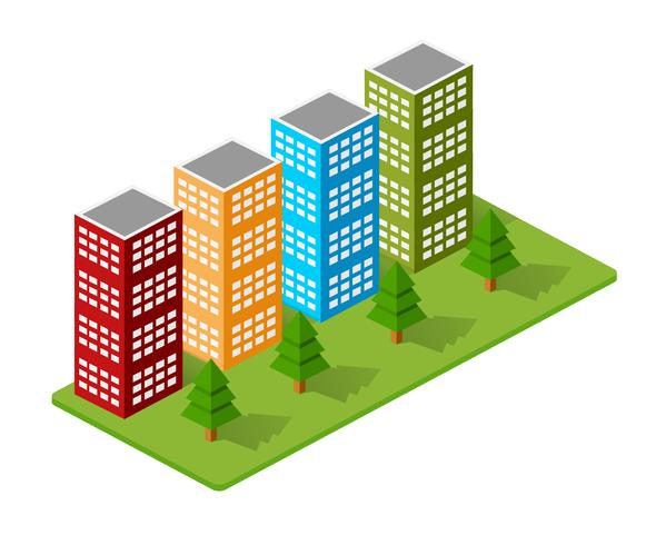 Isometric houses, town houses,