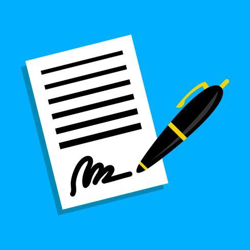 Icono de vector de firma de pluma de contrato de papel comercial