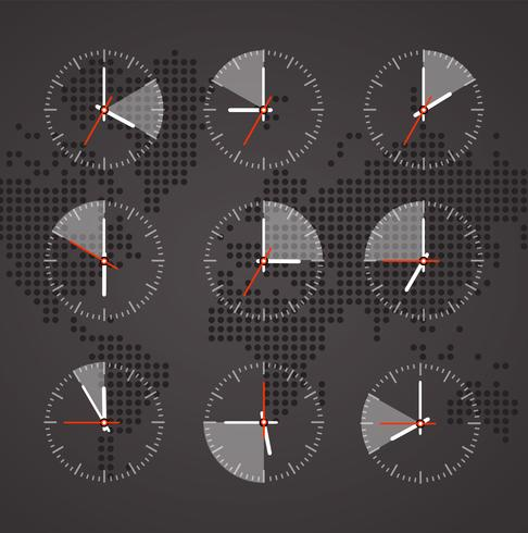 Image of a clock on a background map of the world with continents dark tones