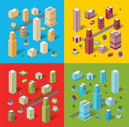objetos isométricos urbanos vector