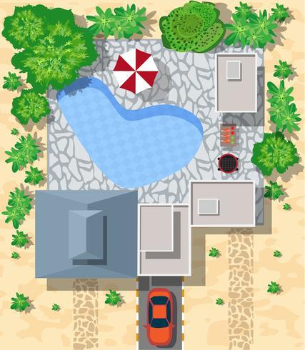 Vue de dessus des maisons