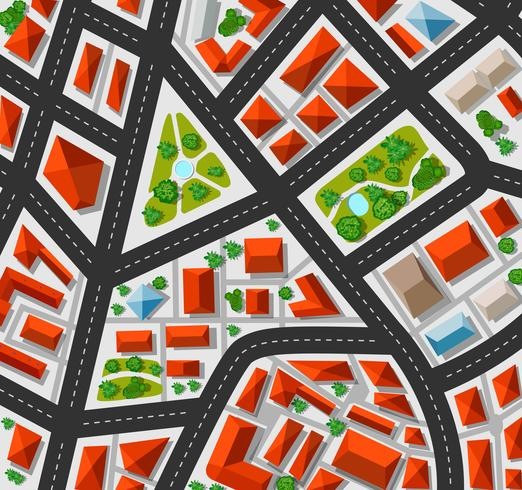 Plan for the big city with streets, roofs, cars vector