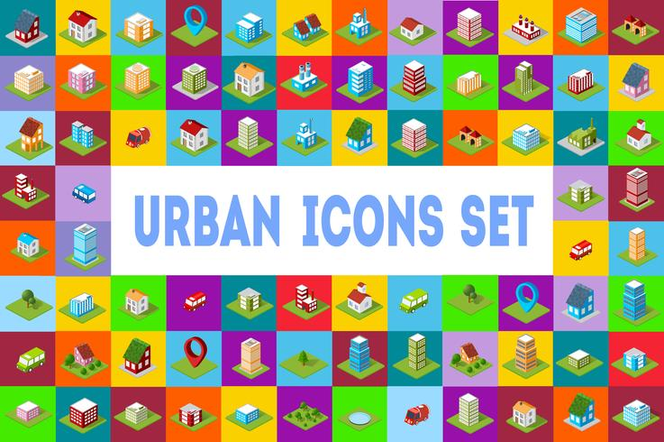 pictogrammen Isometrische stad