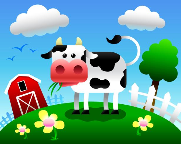 Cow vector cartoon illustration