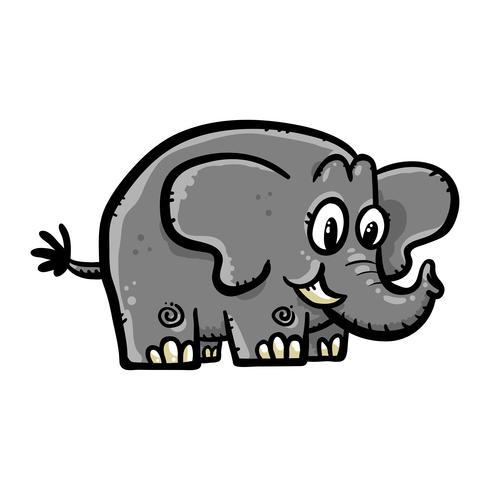 Ilustración de dibujos animados lindo elefante vector