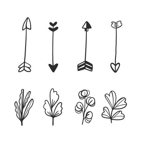 Collection Doodle de flèches et feuilles