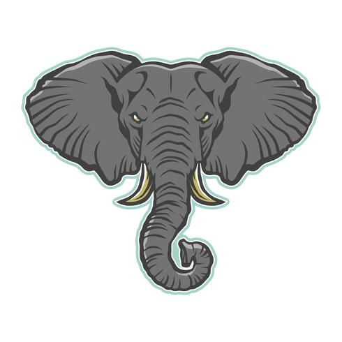 Ilustração de elefante dos desenhos animados com raiva