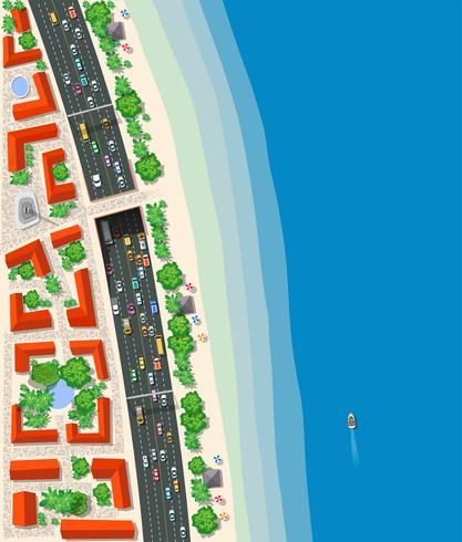 Transport routier urbain vue de dessus vecteur