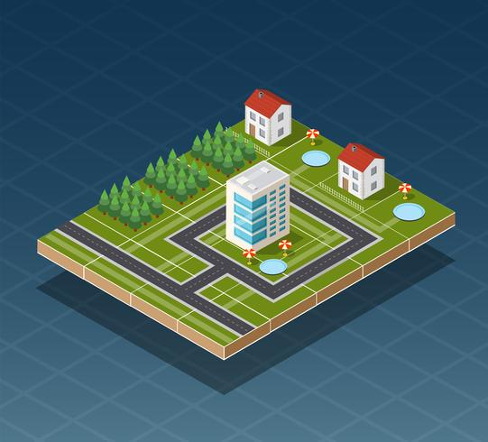 Isometric city map vector