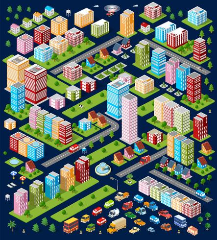 Case isometriche, case di città, vettore