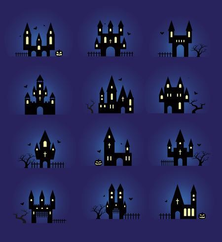 Halloween silhouettes set vector