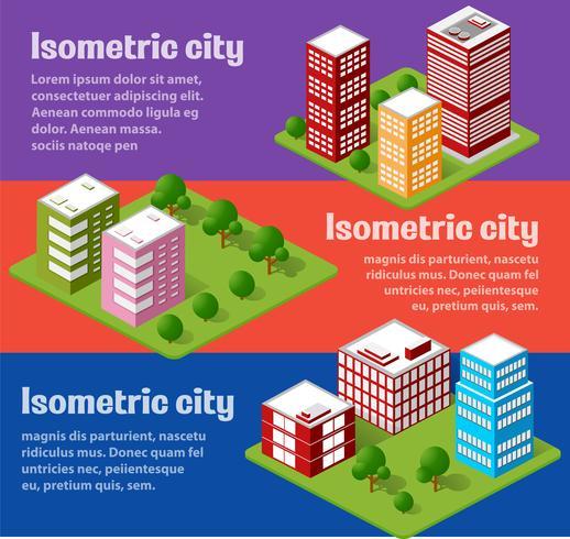 Una grande serie di oggetti urbani isometrici vettore