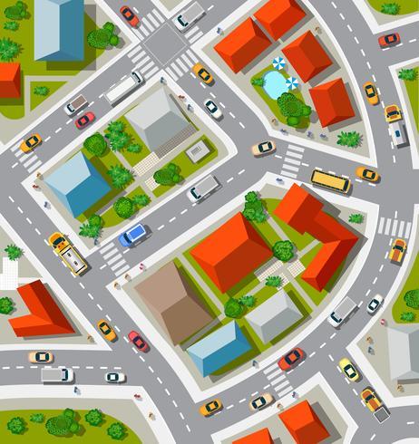 Vista superior de lo urbano. vector