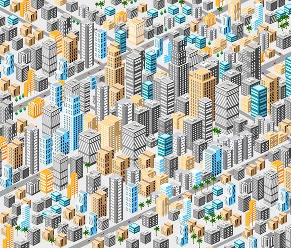 Fondo de la ciudad isometrica vector