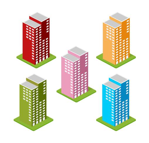 Isometric houses, town houses,  vector