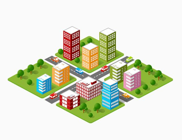 isometric urban objects vector