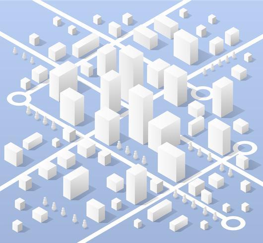 Isometrische kaart van de stad vector