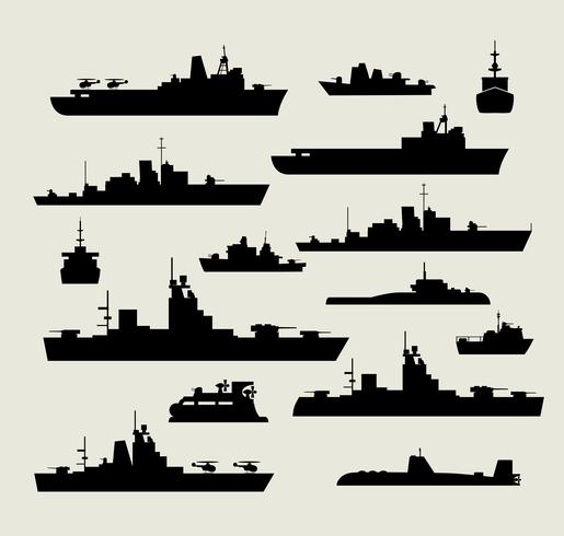 silhouettes of warships vector