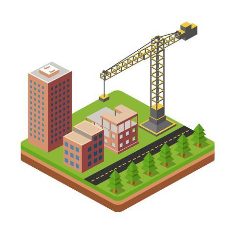 Grúas y casas de construcción. vector
