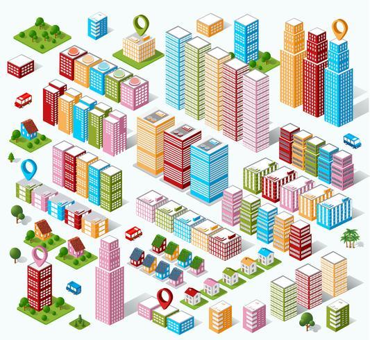 Casas isométricas, casas de pueblo, vector