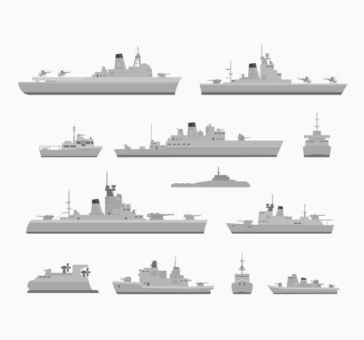 Kriegsschiffe setzen vektor