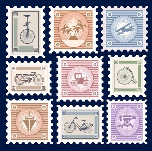 Retro postage stamps
