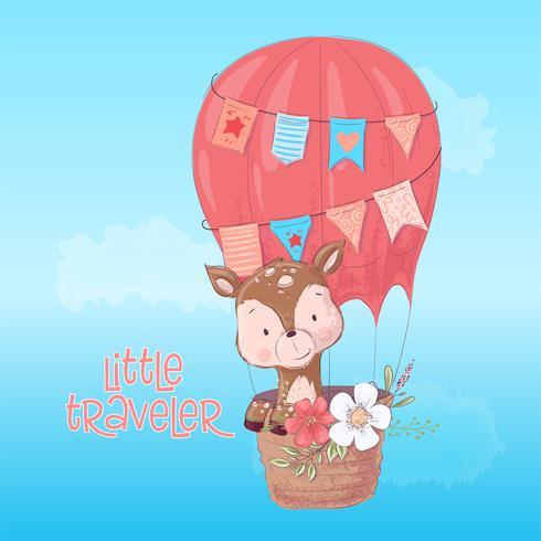 Illustration av en söt hjortballong. Handdragning