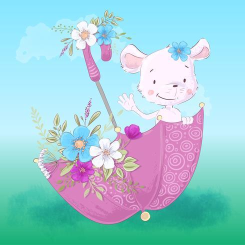 Illustratie van een schattige kleine muis in een paraplu met bloemen. Hand tekenen vector