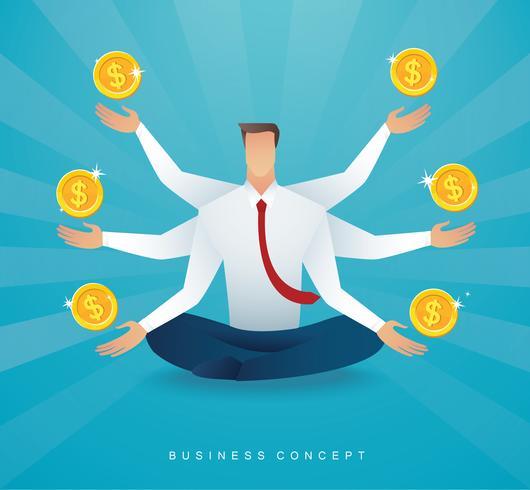 zakenman zitten in lotus pose meditatie met munten geldsymbool