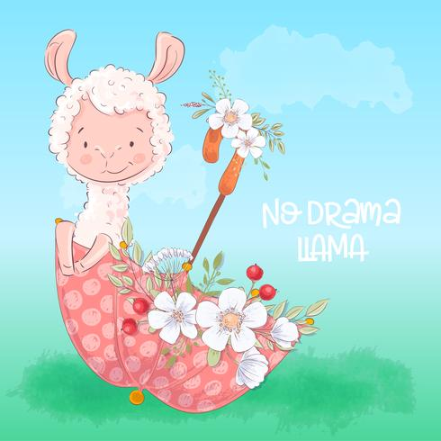 Illustration of a cute llama in an umbrella with flowers. Hand draw