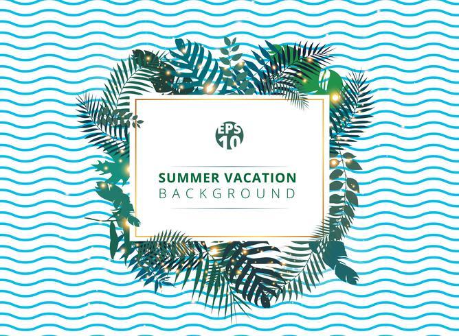 Trendy tropische zomer met exotische palmbladen of installaties en verlichtingseffect op blauwe golfachtergrond. vector