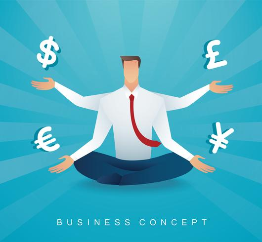 uomo d'affari che si siede nella meditazione di posa del loto con il simbolo dei soldi delle monete