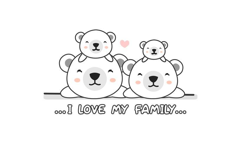 """Linda y feliz familia de osos polares dice """"Amo a mi familia"""". vector"""