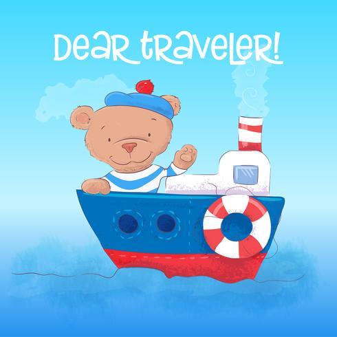 Illustrazione di un giovane marinaio dell'orso sveglio su una nave a vapore. Disegnare a mano vettore