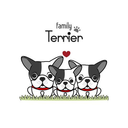 Terrier Perro Familia Padre Madre Y Bebé Recién Nacido. vector