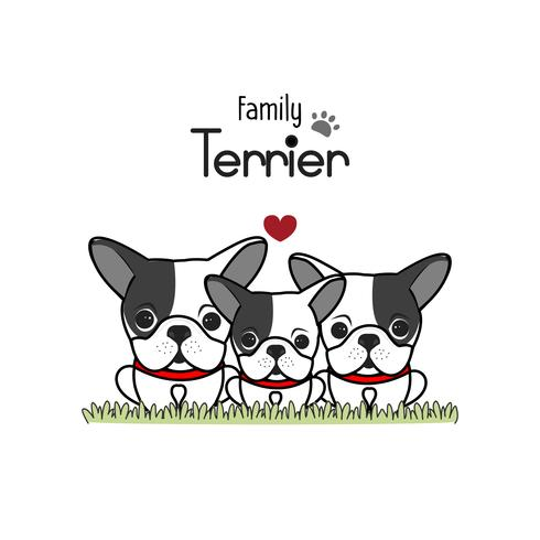 terrier hond familie vader moeder en pasgeboren baby.