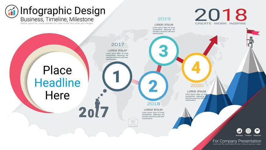 Business infographics mall, Milestone tidslinje eller vägkarta med Process flowchart 4 alternativ.