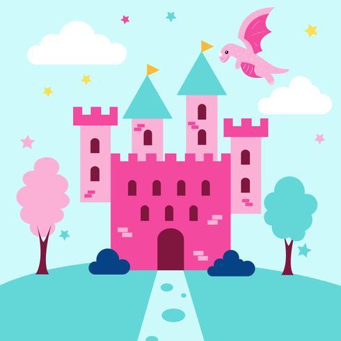 Princesa fofo cena castelo e dragão