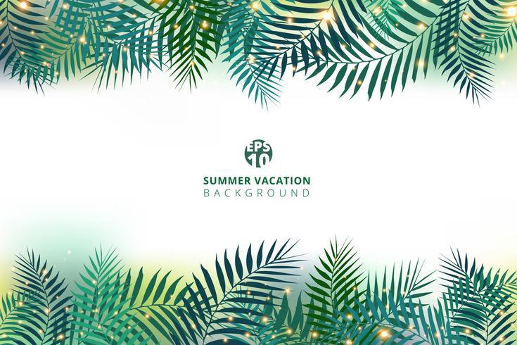Zomertijd vakantie en groene palmbladeren met verlichting effect op witte achtergrond. vector