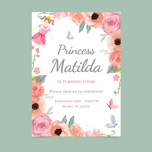 Modelo de cartão de convite floral e feminino vetor