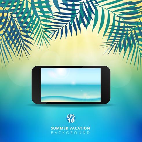 Sumário do fundo das horas de verão com móbil e folhas da natureza, luz do sol brilhante no centro do tema do céu azul. vetor