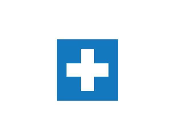 además de médico cruzado vector icono de logotipo