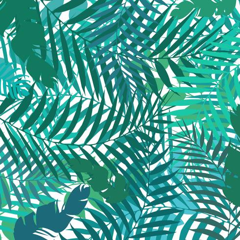 Hand drawing botanical exotic pattern with green palm leaves. Summer background.
