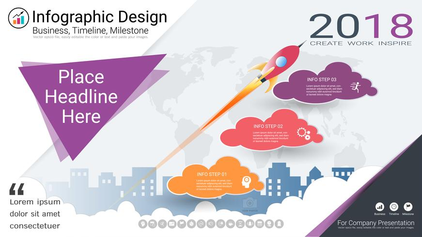 Modèle d'infographie d'entreprise, chronologie du jalon ou feuille de route avec options de l'organigramme de processus 3.