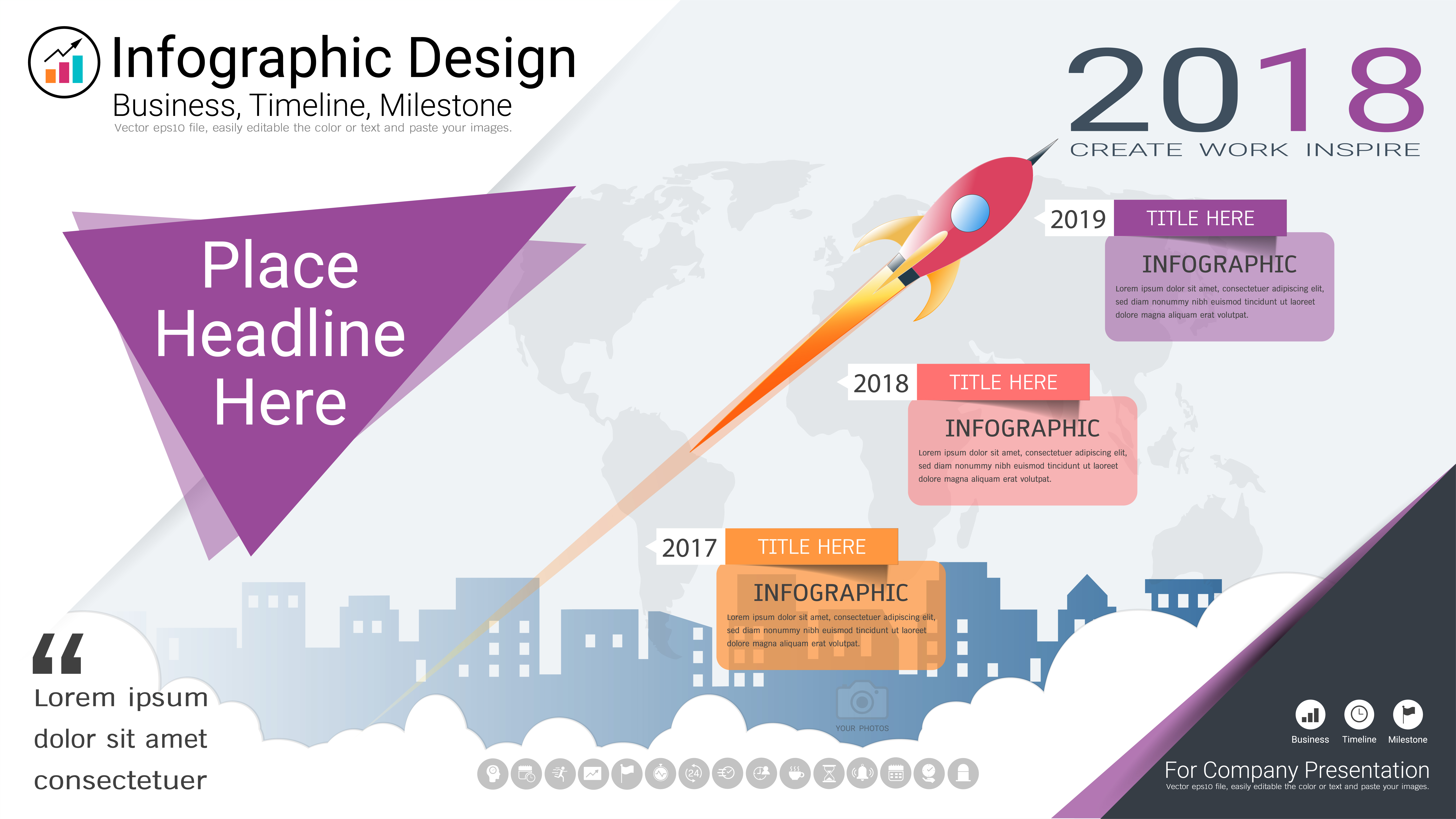 business infographics template  milestone timeline or road map with process flowchart 3 options